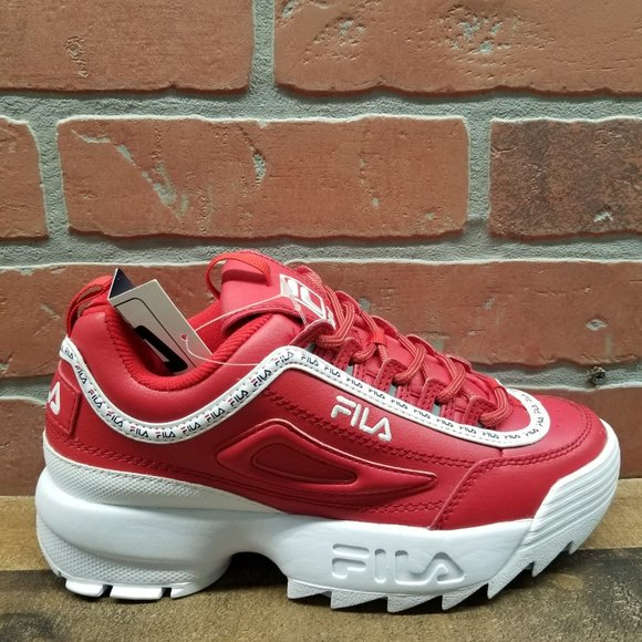 FILA Disruptor II Logo Taping Red Shoes NWT